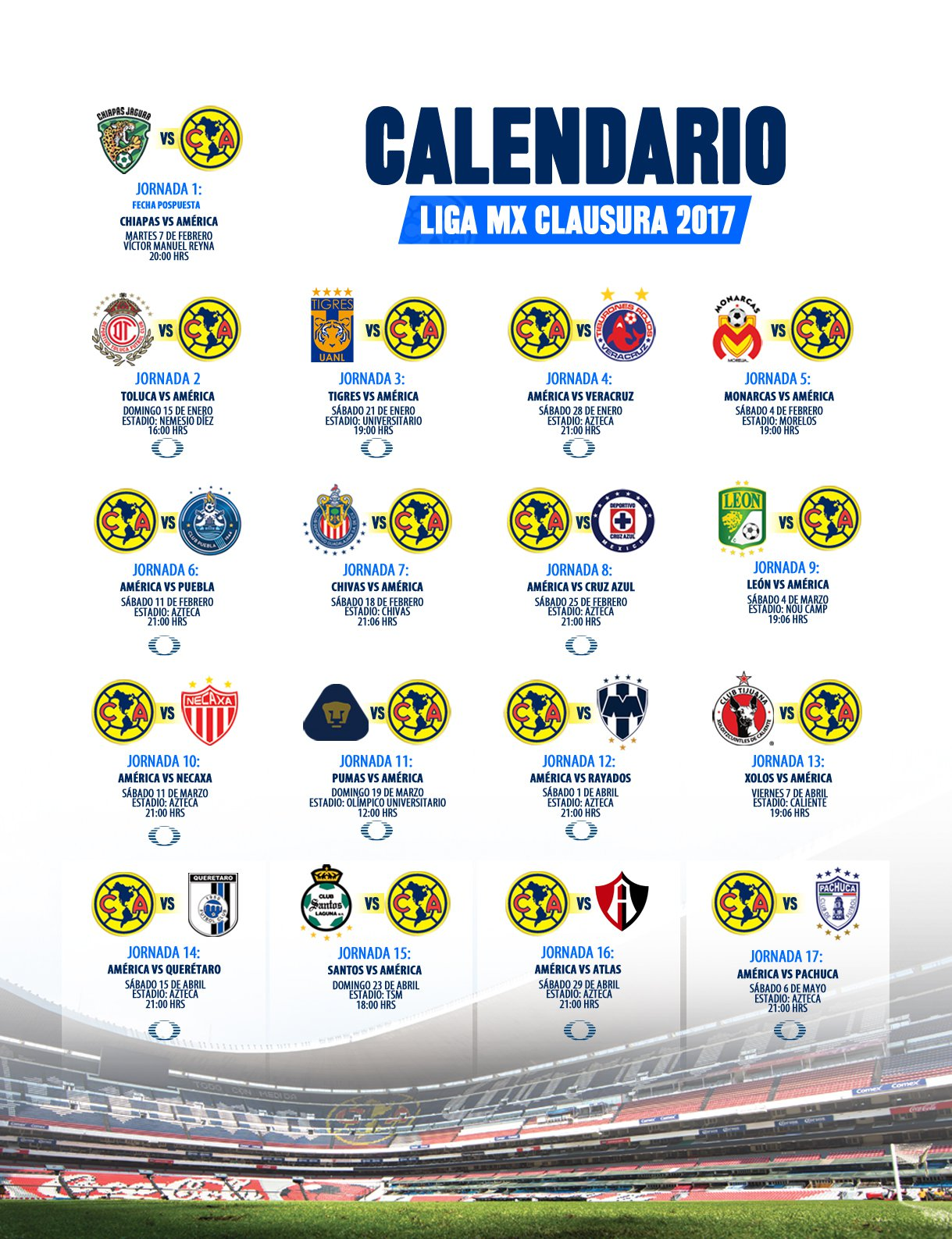 a9f70d14b4076 Calendario del futbol mexicano Torneo Clausura 2017